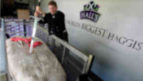 World's largest haggis made by Hall's at the Royal Highland Show in Edinburgh on June 19, 2014.