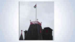 Palestinian flag over Dumbarton town hall in West Dunbartonshire.