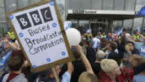 Demonstration outside BBC Scotland in Glasgow September 14 2014 quality indyref