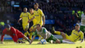 Anthony Stokes was booked for simulation after going down in injury time.