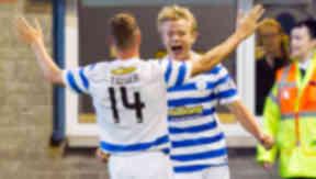 Morton's Alex Samuel (right) celebrates having opened the scoring v Motherwell