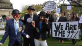Occupy Edinburgh: The campaigners joined in the protest on Friday.