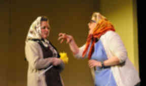 comedy duo Vikki Davidson and Rhianne Reid as the grunnies Nan and Norma.