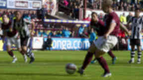 Jamie Hamill fires home the opening goal from the penalty spot