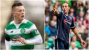 Former team-mates Callum McGregor (left) and Jackson Irvine are now on opposing sides.
