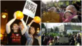 "From left to right: The Hallowe'en protest; a mother and child at the ""die-in"" on December 2, 2002; the protest outside Army headquarters on January 19, 2003."