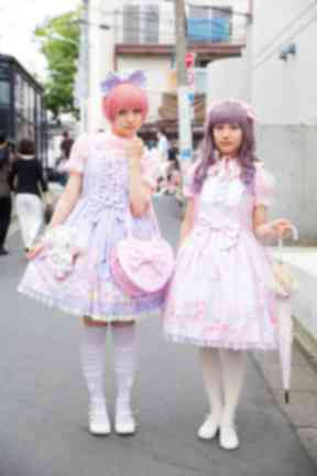 Harajuku: Students embracing pastel sweet Lolita fashion in 2015.