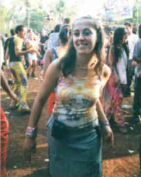 Goa trance: Caroline's sister Sarah at a Goa New Year party.
