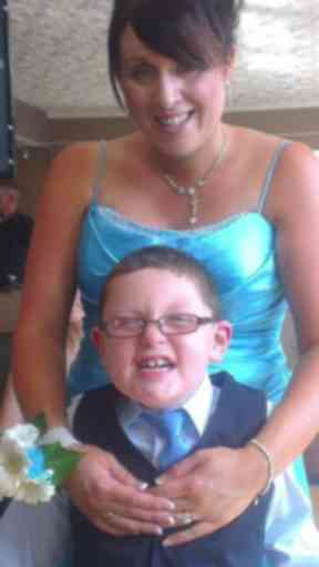 Calum, 10, with his mother Stacey McPherson.