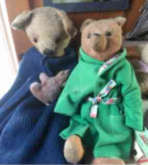 Some of the oldest bears in Tim and Jenny's collection.