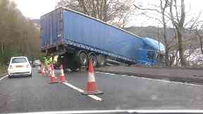 Crash: The HGV is stuck in a verge at Loch Lomond