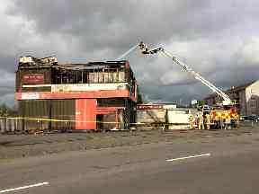 Barmulloch: Firefighters still tackling it on Monday.