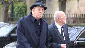Boyd Tunnock: Teacake company boss, left, attends funeral.