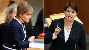 Funding: Nicola Sturgeon and Ruth Davidson clashed over the Chancellor's plans.