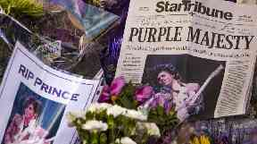 Tributes left to the 'Purple Majesty'.