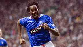 Rangers star: Ugo Ehiogu celebrates his Old Firm winner.