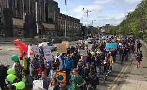 Protest: Thousands turned out for the march to parliament