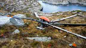 Rotor: Landed short distance from crash site.