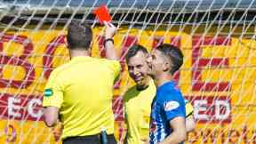 Image result for Referee shows red card to sick assistant!