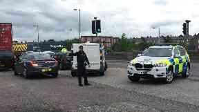 Road blocked: Police redirecting traffic.