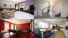 Country mansion: Front room, landing, kitchen and billiards room.