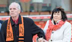Campaign: Amanda Kopel with her late husband Frank.