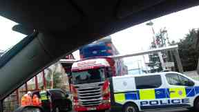 Crash: HGV blocked the train line in Motherwell.
