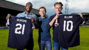 Recruits: Dundee's Neil McCann with two summer signings, Roarie Deacon and Scott Allan.