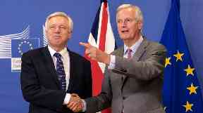 Talks between Michel Barnier (right) and David Davis have resumed.