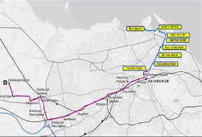 Trams: Proposed extention to the line in blue.