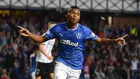 Double: Alfredo Morelos scored twice at Ibrox.