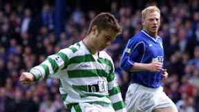Debut: Shaun Maloney makes his Celtic debut against Rangers in 2001.