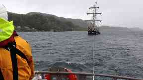 Rescued: Lady of Avenel under tow off Oban.