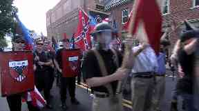 Far-right supporters gather in Charlottesville, Virginia.