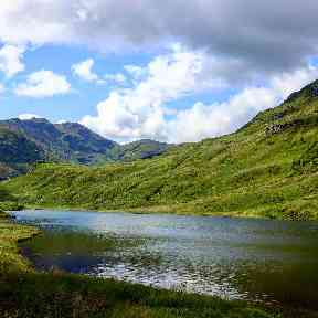 A small freshwater loch by the Rest and be Thankful in Argyll.