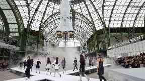 Models on the the catwalk during Paris Fashion Week.