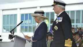 Ceremony: Camilla broke a bottle of whisky on the ship's hull..
