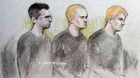 A court sketch of the accused at Westminster Magistrate's Court.