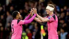 Darren Fletcher (right) celebrates with Ikechi Anya at full time against Slovakia.