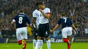 Pride: Scotland scored twice at Wembley against England.