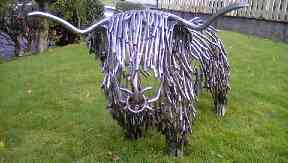 An iron Highland cow has popped up in Arrochar, Argyll.
