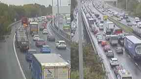 M8: Traffic back to junction 27 Paisley, Renfrewshire.