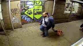 Rahimi was caught on camera dragging suitcases containing the explosives.