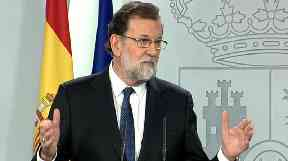 Spanish Prime Minister Mariano Rajoy speak to the media.