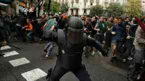 Police used force to keep people from voting in the disputed referendum.
