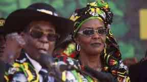 Mugabe with his wife First Lady Grace Mugabe