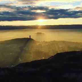 A sun-streaked view of Stirling from Dumyat.