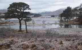 Frost: A crisp day at Loch Tulla near Bridge of Orchy.