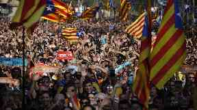 Thousands have gathered on the streets in Barcelona following the parliament voting to declare independence.