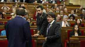 Catalan President Carles Puigdemont inside the Catalan parliament in Barcelona.